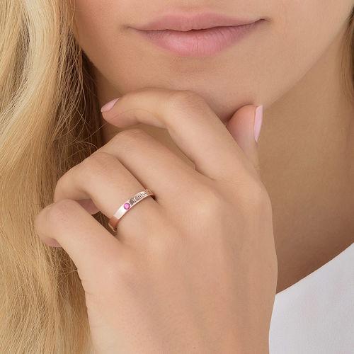 Naam ring met één steen - 18k roségoud verguld - 4