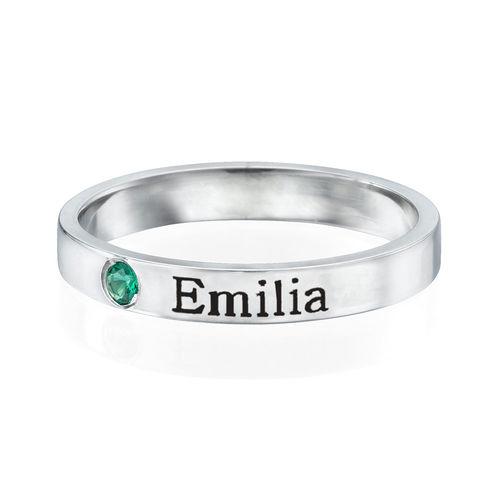 Naam ring met één steen - 1