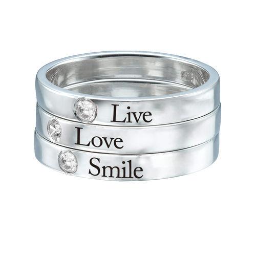 Naam ring met één steen - 3
