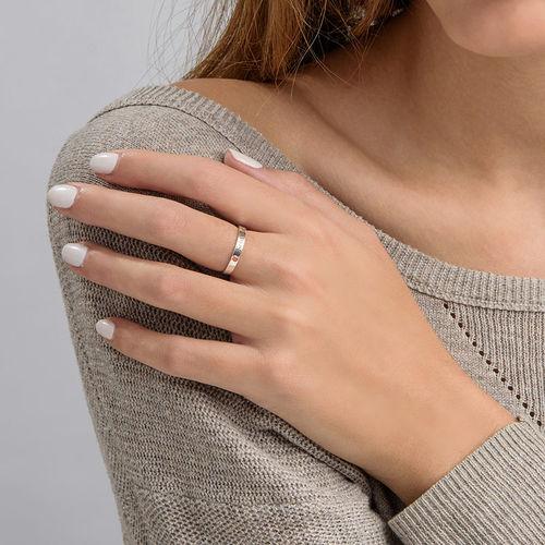 Naam ring met één steen - 6