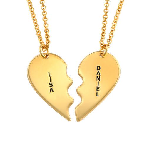 Breekbare Hart Ketting voor Koppels in Goud Verguld Zilver