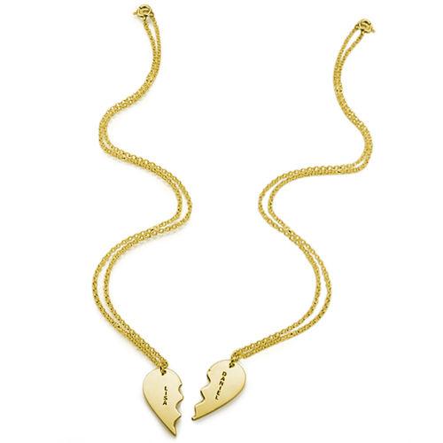 Breekbare Hart Ketting voor Koppels in Goud Verguld Zilver - 1
