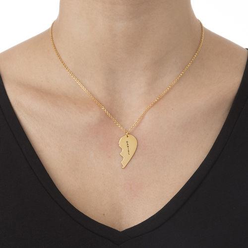 Breekbare Hart Ketting voor Koppels in Goud Verguld Zilver - 2