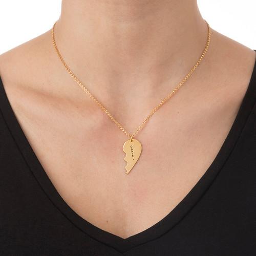 Breekbare Hart Ketting voor Koppels in Goud Verguld Zilver - 3