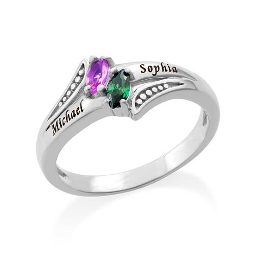 Persoonlijke Geboortesteen Ring in 925 Zilver