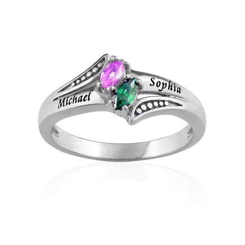 Persoonlijke Geboortesteen Ring in 925 Zilver - 1