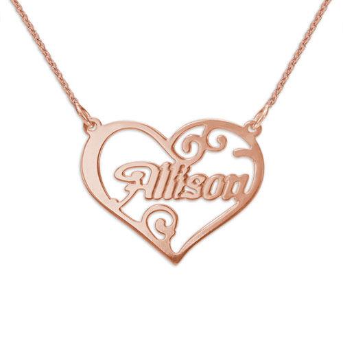 Persoonlijke Hart Hanger met Naam in Rosé-Goud Verguld Zilver