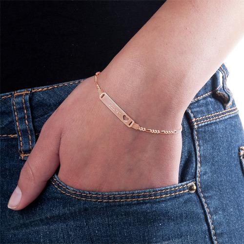 Naam Armband met Uitgesneden Hartje in Rosé-Goud Verguld Zilver - 2