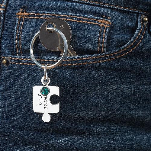 Puzzel Sleutelhangers voor Koppels met Geboortesteen in 925 Zilver - 5