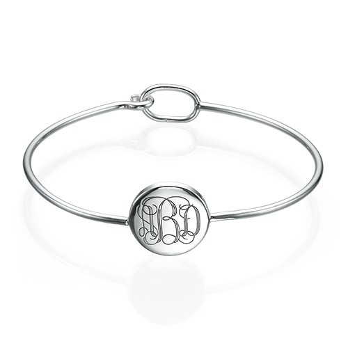 Ronde Monogram Bangle Armband in 925 Zilver