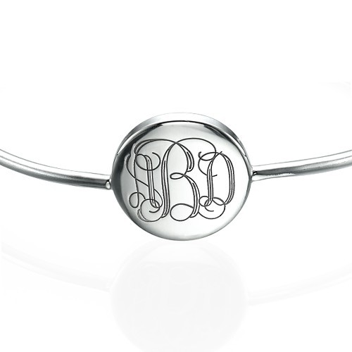 Ronde Monogram Bangle Armband in 925 Zilver - 1