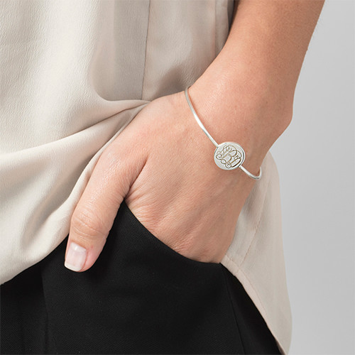 Ronde Monogram Bangle Armband in 925 Zilver - 2