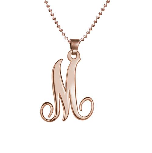 Sierlijke Monogram Initiaal Ketting in Rosé-Goud Verguld Zilver