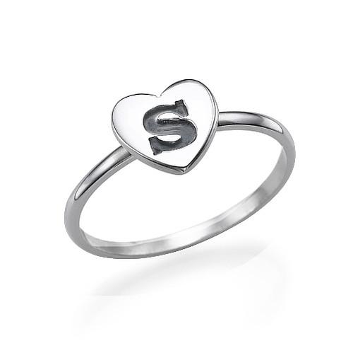 Hart Initiaal Ring in 925 Zilver