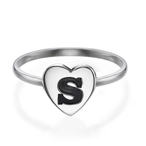 Hart Initiaal Ring in 925 Zilver - 1