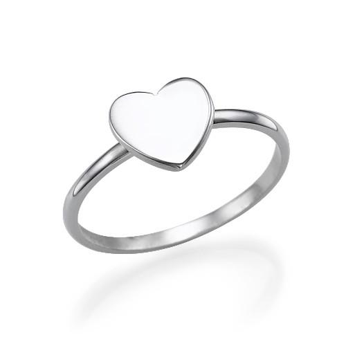 Hart Initiaal Ring in 925 Zilver - 2