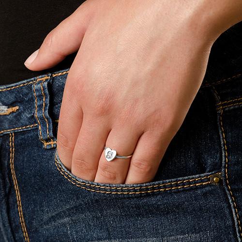 Hart Initiaal Ring in 925 Zilver - 3