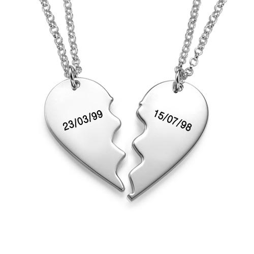 Best Friends Breekbare Hart Ketting in 925 Zilver - 1