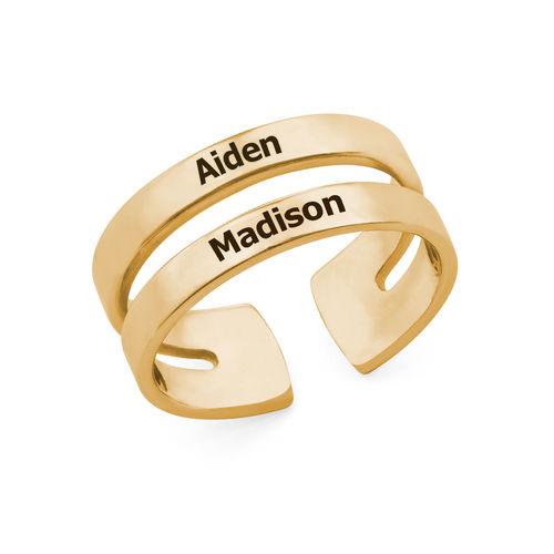 Twee geelgoud vergulde naam ringen