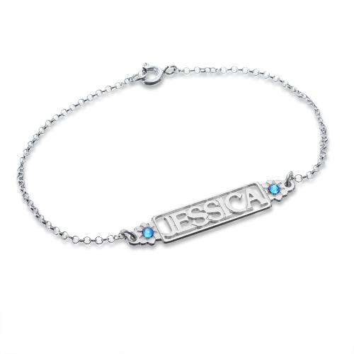 Uitgesneden Naam Armband met Geboortestenen in 925 Zilver - 1