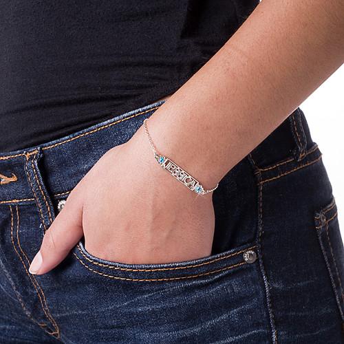 Uitgesneden Naam Armband met Geboortestenen in 925 Zilver - 2