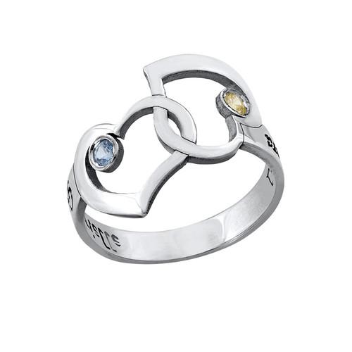 Verbonden Hart Ring met Uitgesneden Namen