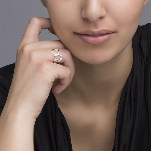 Verbonden Hart Ring met Uitgesneden Namen - 3