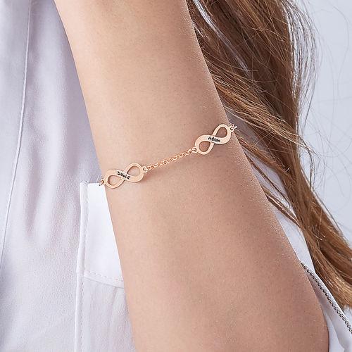 Vergulde armband met meerdere infinity-symbolen in roségoud verguld zilver - 4