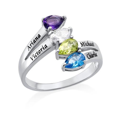 Vier Stenen Moeder Ring in 925 Zilver