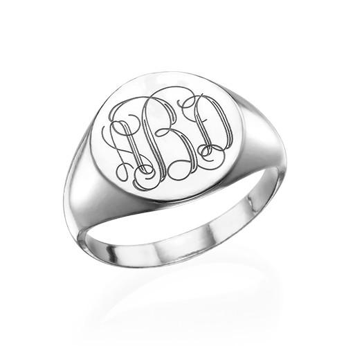 Zegel Ring met Gegraveerd Monogram in 925 Zilver