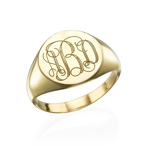 Zegel Ring met Gegraveerd Monogram in Goudkleur