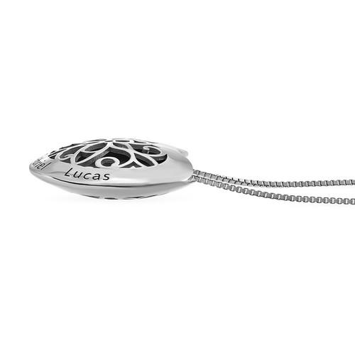 Zilveren Gegraveerde Ketting met Hartje - 1