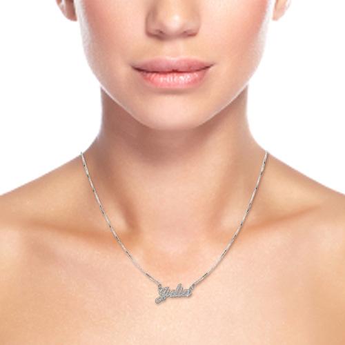 Glinsterend Diamant Gesneden Klassieke Naamketting in 925 Zilver - 1