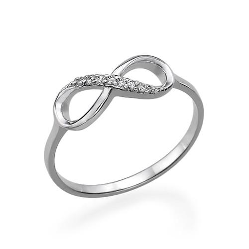 Kubische Zirkonia Infinity Symbool Ring in 925 Zilver