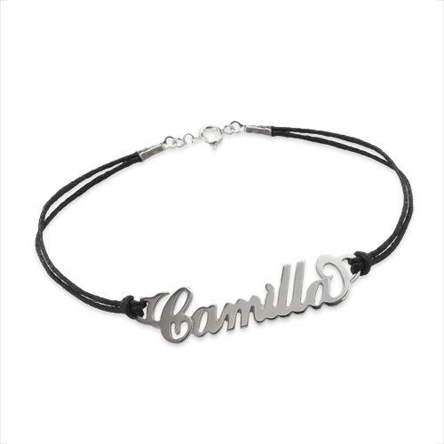 """Zilveren (0.925) """"Carrie""""stijl Naam Armband met Lederachtig Koord - 1"""