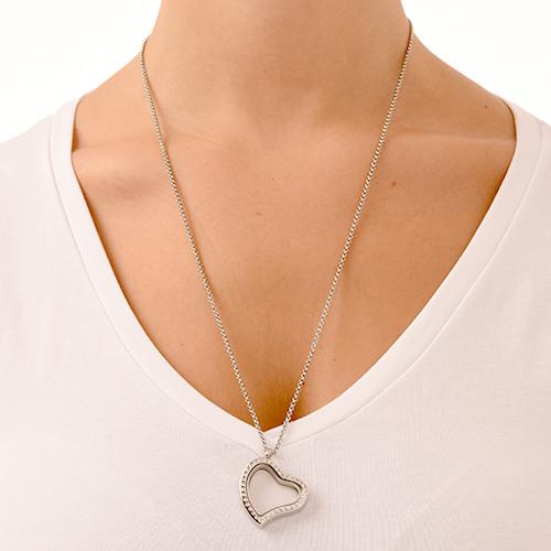 Zilverkleurige Hart Locket met Kristallen - 2
