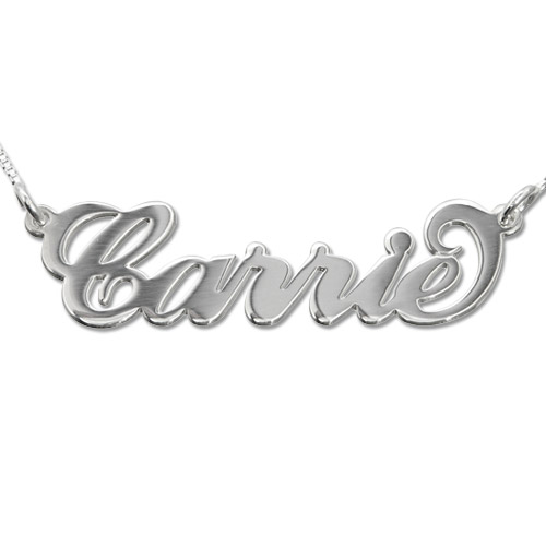 """14k Wit Goud """"Carrie"""" Stijl Naam Ketting"""