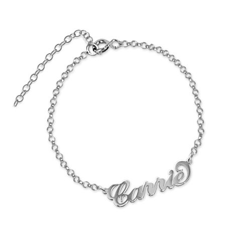 Carrie Stijl Naam Armband / Enkelband in 925 Zilver