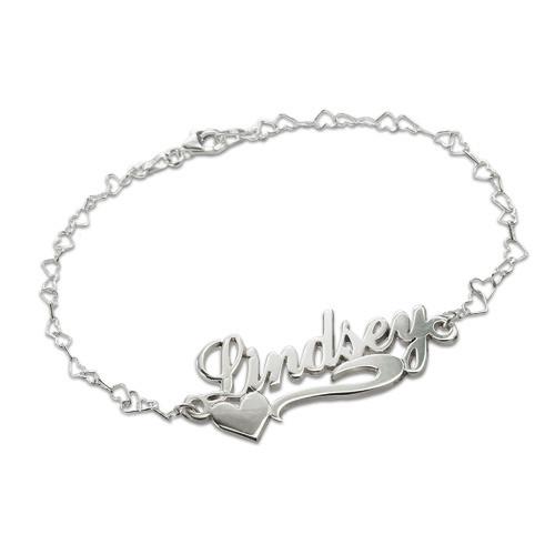 Zilveren (0.925) Zijkant Hart Naam Armband / Enkelband
