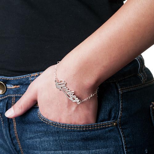 Zilveren (0.925) Zijkant Hart Naam Armband / Enkelband - 2