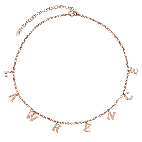 18K Rosé-Vergulde Naam Chokerketting - 1
