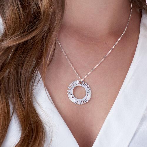 Cirkelvormige, Sterling Zilveren Naamketting met Diamanteffect - 2