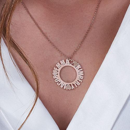 Cirkelvormige, Rosé-vergulde Naamketting met Diamanteffect - 2