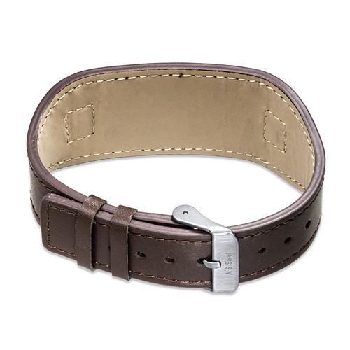 Mannen ID Armband in Bruin Leer - 1