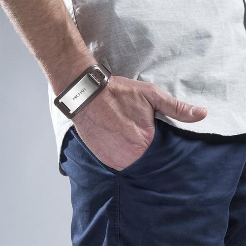 Mannen ID Armband in Bruin Leer - 2