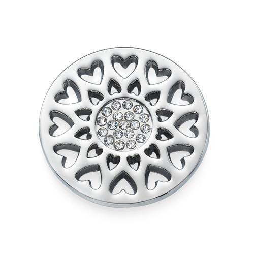 Zilveren Zonnebloemmunt met Hartjes