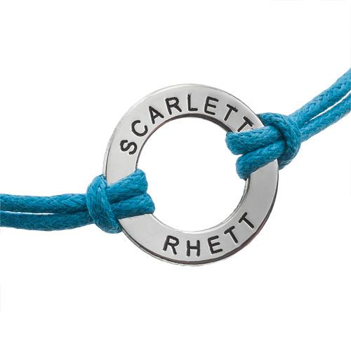 Zilveren Cirkel Munt Armband met Lederen Koord