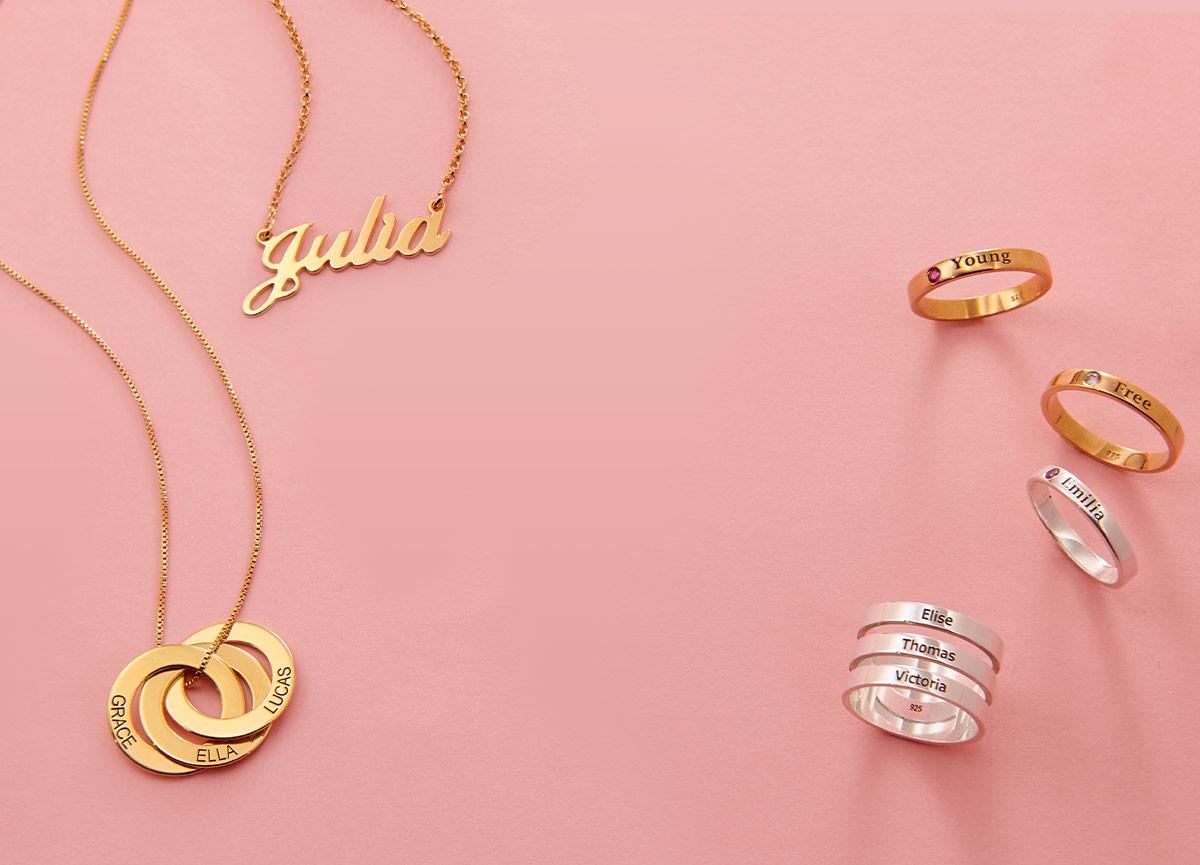 Mitt Navnesmykkes Størrelsesguide for smykker