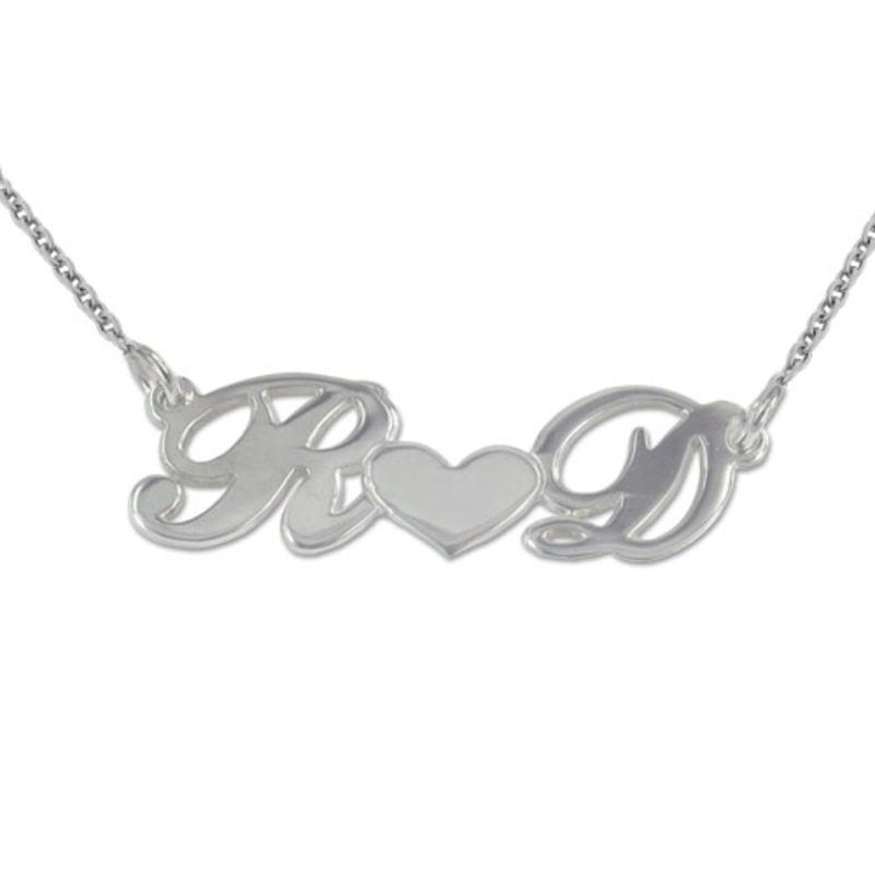 Par smykke med bokstaver og hjerte i sølv