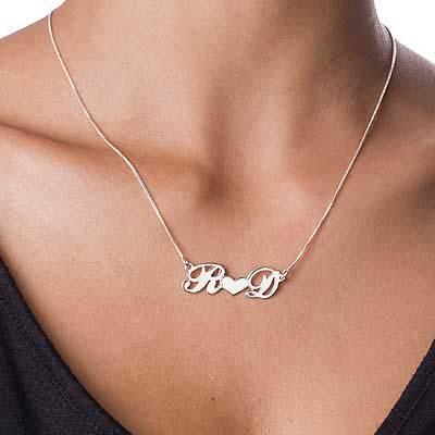 Par smykke med bokstaver og hjerte i sølv - 1